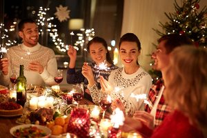 Dinner party for holiday guests